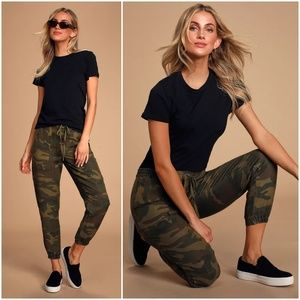 Lulus At Attention Green Camo Print Joggers